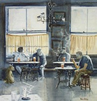 Inside Nellie's, original watercolour painting by Robin Storey