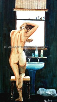 Nude Contre Jour, original watercolour painting by Robin Storey