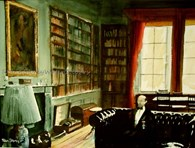 In The Library, original watercolour painting by Robin Storey