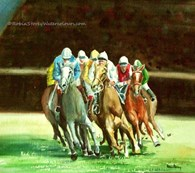 Race Horses, original watercolour painting by Robin Storey