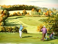 Beverley Golf Club, Hole 14, original watercolour painting by Robin Storey