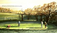 Beverley Golf Club, Hole 9, original watercolour painting by Robin Storey