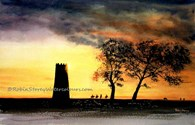 Black Mill Evening, original watercolour painting by Robin Storey