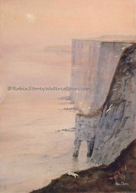 Bempton Cliffs, original watercolour painting by Robin Storey