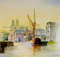 Barge on Beverley Beck, original watercolour painting by Robin Storey