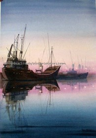 Alexandra Dock, original watercolour painting by Robin Storey