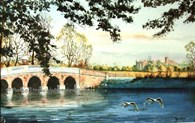 Burton Constable Hall From The Lake, original watercolour painting by Robin Storey