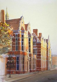 Beverley County Hall, original watercolour painting by Robin Storey