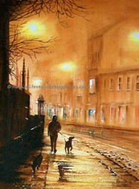 Evening Dog Walk, original watercolour painting by Robin Storey