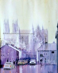 Flemingate Rush Hour Beverley, original watercolour painting by Robin Storey