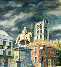 King Billy Statue, original watercolour painting by Robin Storey