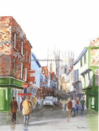 Low Petergate between the showers, original watercolour painting by Robin Storey