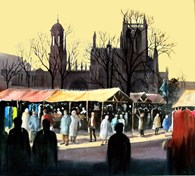 Market and Holy Trinity (Castagnet style), original watercolour painting by Robin Storey