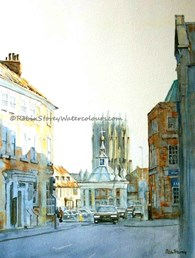 Market Cross Beverley, original watercolour painting by Robin Storey