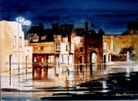 Rainy North Bar Without, original watercolour painting by Robin Storey