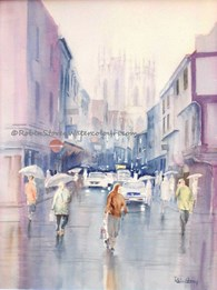 Rainy Petergate, original watercolour painting by Robin Storey