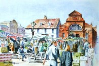 Saturday Market Place, original watercolour painting by Robin Storey