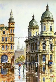 Victoria Square Kingston Upon Hull, original watercolour painting by Robin Storey