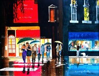 Night out, original watercolour painting by Robin Storey