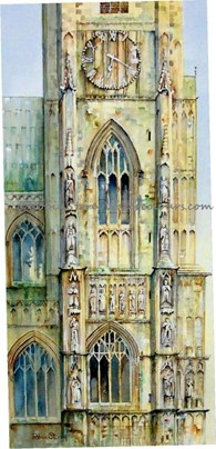 Beverley Minster Clock Tower, original watercolour painting by Robin Storey
