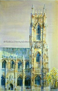 Beverley Minster Clock Tower and Porch, original watercolour painting by Robin Storey