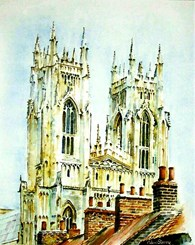 Beverley Minster From Roof Tops, original watercolour painting by Robin Storey