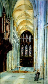 Beverley Minster Transept, original watercolour painting by Robin Storey