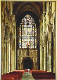 Beverley Minster West Window, original watercolour painting by Robin Storey