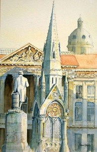 Chamberlain Monument Birmingham, original watercolour painting by Robin Storey
