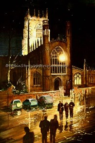 St Mary's at Night, original watercolour painting by Robin Storey
