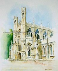 St Marys Church Beverley Vingnette, original watercolour painting by Robin Storey