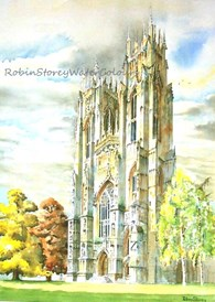 West Towers Beverley Minster, original watercolour painting by Robin Storey