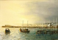 Bridlington Harbour Dawn, original watercolour painting by Robin Storey