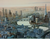 London Cityscape, original watercolour painting by Robin Storey