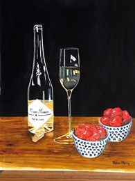 Strawberries and wine (1), original watercolour painting by Robin Storey