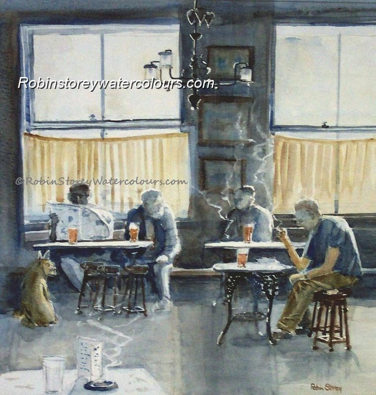 Inside Nellie's ,original watercolour by Robin Storey