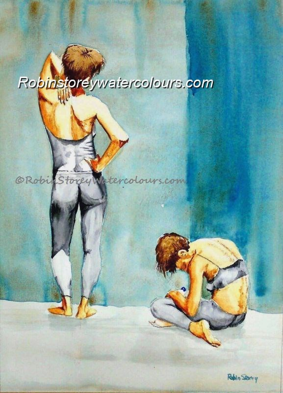 Gym Ladies ,original watercolour by Robin Storey