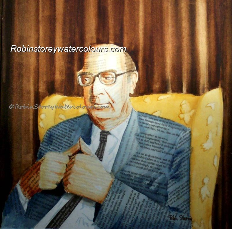 Larkin ,original watercolour by Robin Storey