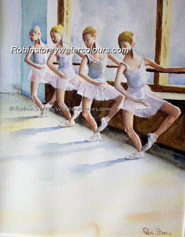 Ballet Dancers At Bar ,original watercolour by Robin Storey