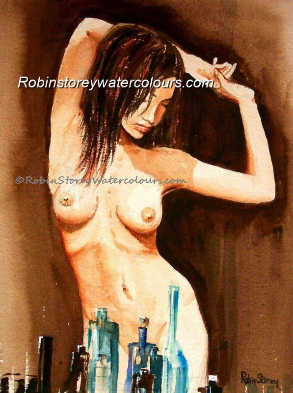Nude Stretching ,original watercolour by Robin Storey