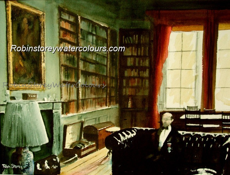 In The Library ,original watercolour by Robin Storey