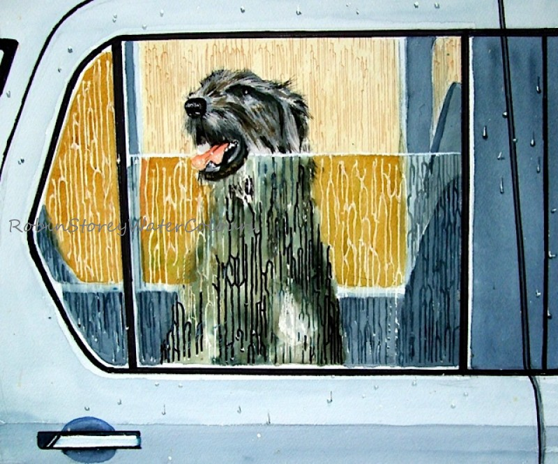 Dog Ride ,original watercolour by Robin Storey