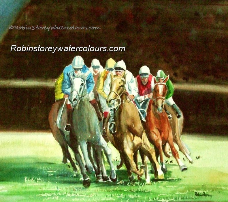 Race Horses ,original watercolour by Robin Storey