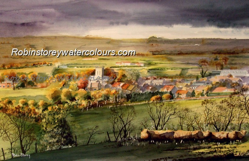 Shower approaching Newbald ,original watercolour by Robin Storey