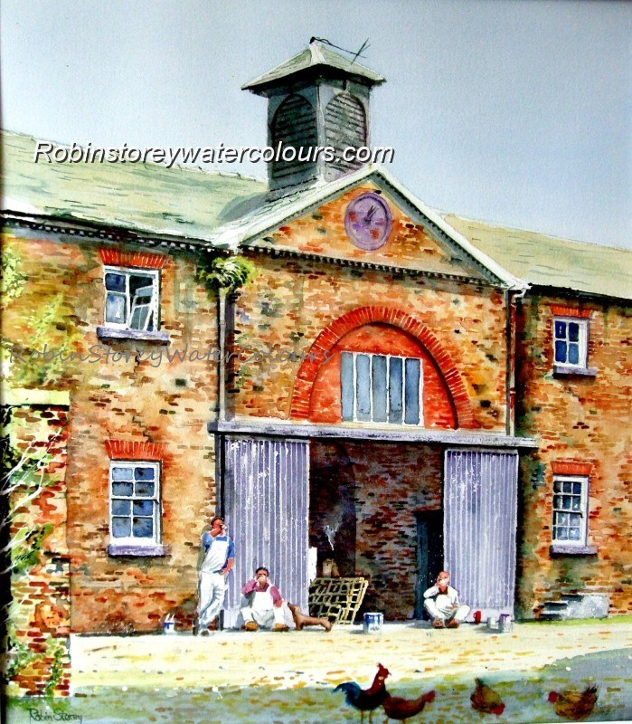 Workers' Lunch Stable block ,original watercolour by Robin Storey