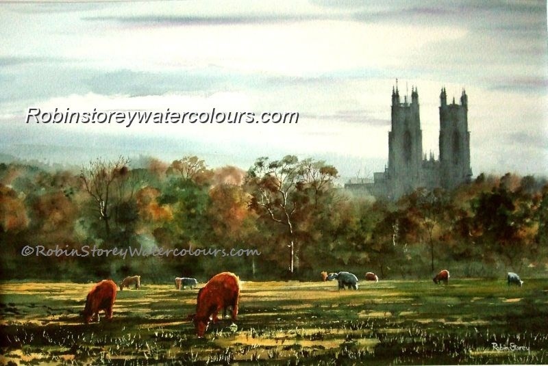 Early Morning Beverley Westwood ,original watercolour by Robin Storey