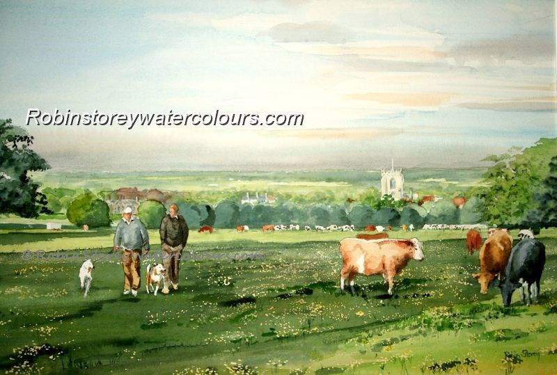 Westwood dog walkers ,original watercolour by Robin Storey