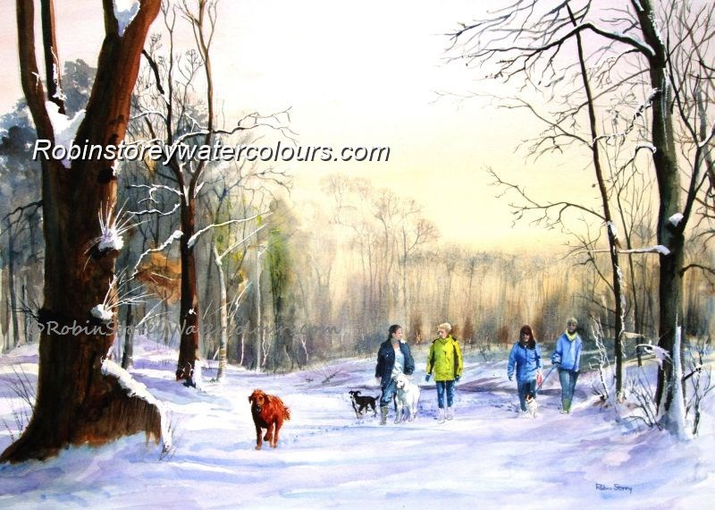 Winter Dog Walkers ,original watercolour by Robin Storey