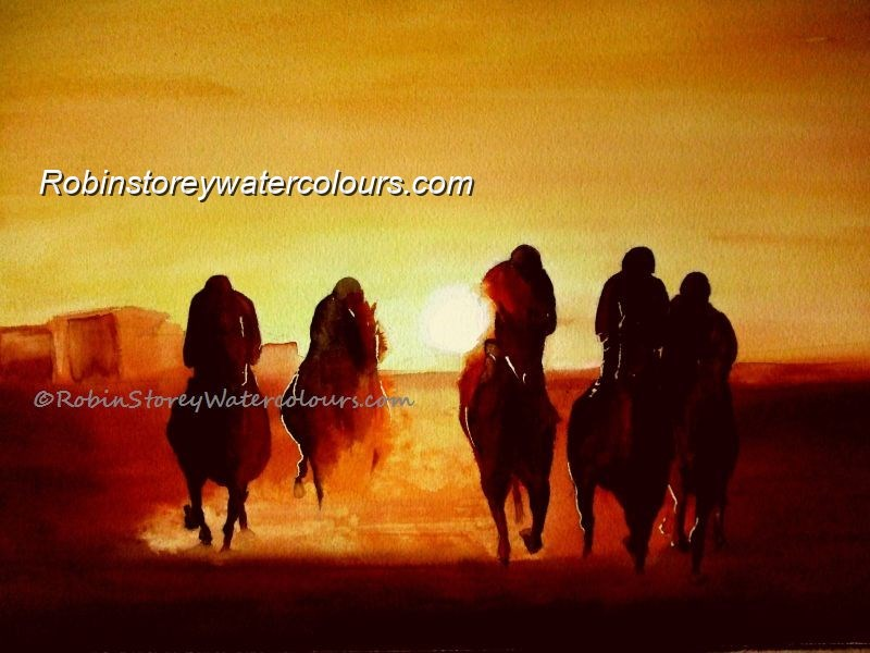 Sunset Horses ,original watercolour by Robin Storey