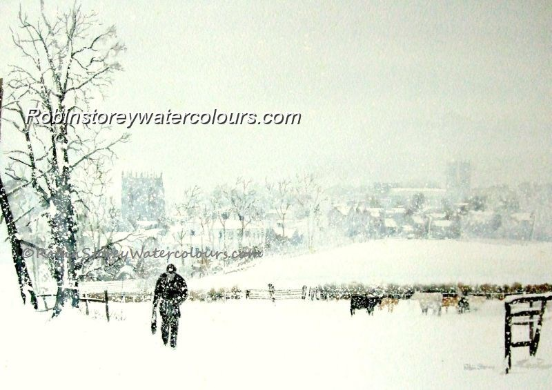 Snow Shower Over Beverley ,original watercolour by Robin Storey
